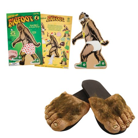 (Set) Big Foot Dress-Up Set w/ Pop-out Easel & Big Foot Hairy Feet Slippers - Hairy Feet
