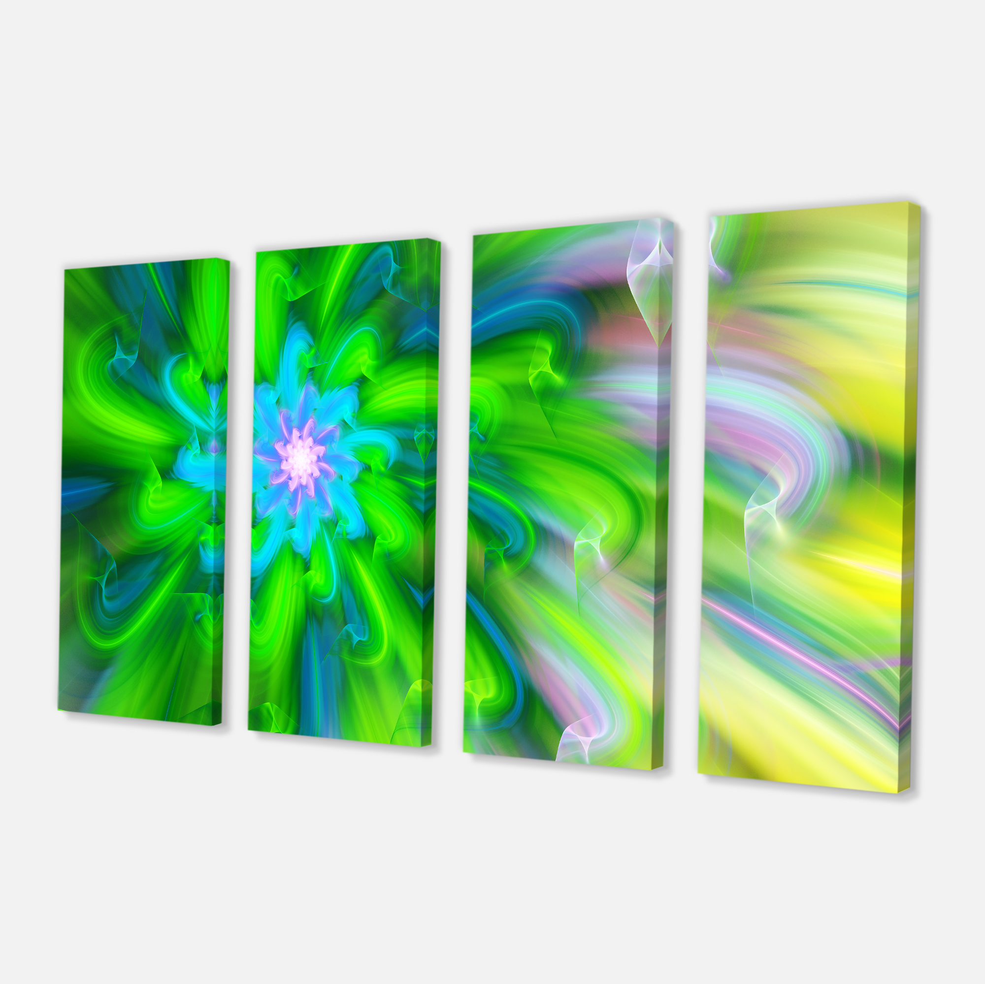 Dance of Green Flower Petals - Floral Canvas Art Print - image 2 de 3