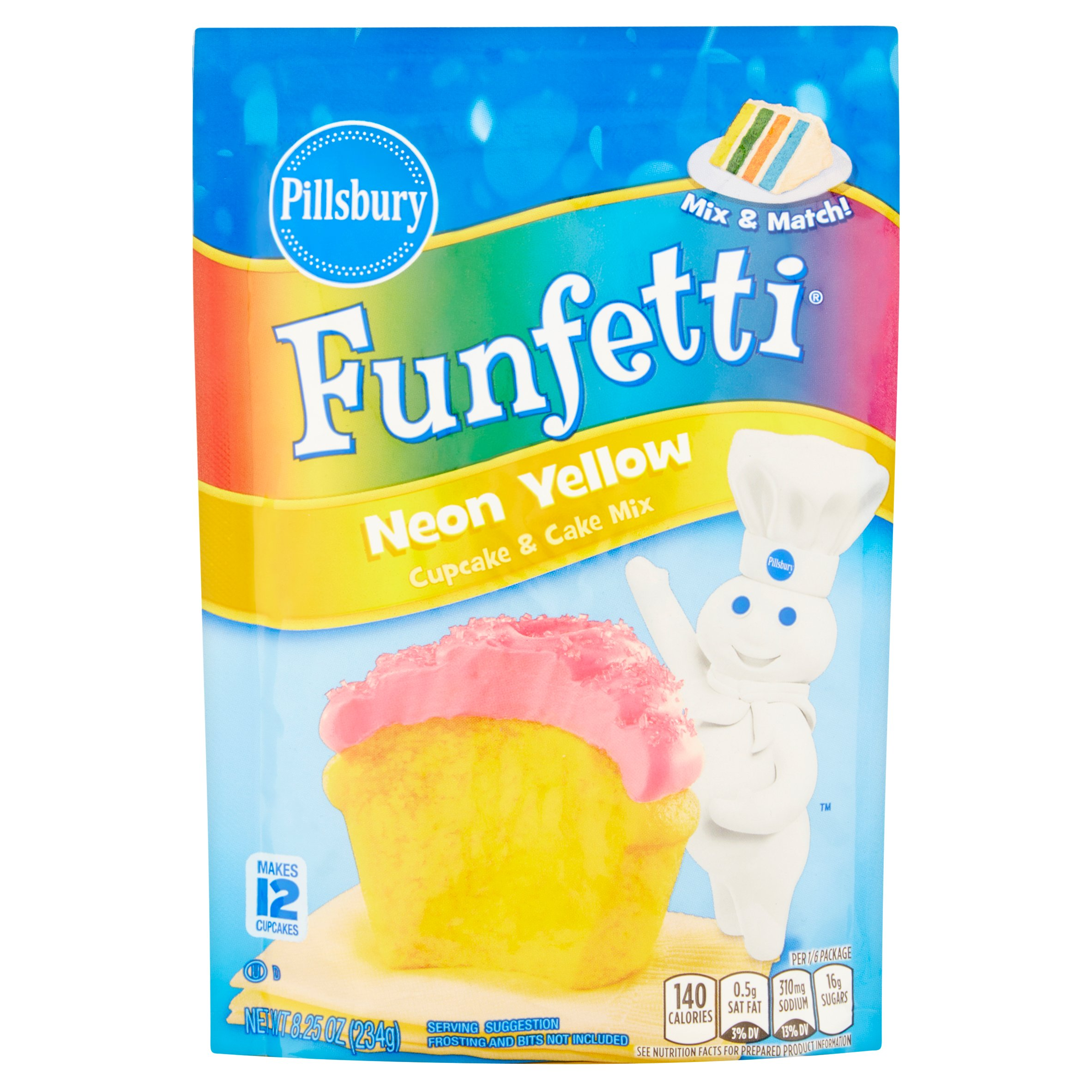 Pillsbury Funfetti Neon Yellow Cupcake & Cake Mix, 8.25 oz