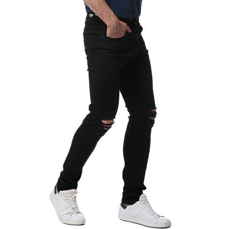 Hemiks Men's Slim Fit Stretch Destroyed Ripped Skinny Denim Jeans ()