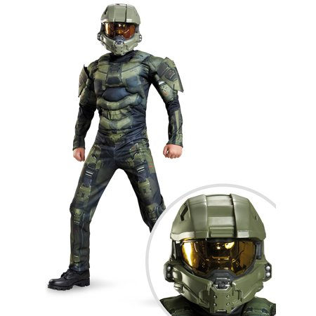 Master Cheif Helmet (Halo Master Chief Classic Muscle Chest Costume for Kids and Halo: Master Chief Child Full)