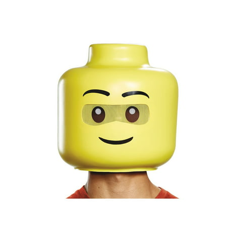 Lego Iconic Lego Guy Full Head Adult Mask Halloween Costume Accessory](Gay Peter Pan Costume)