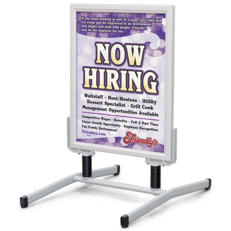 "Sandwich Board 24""w x 39""h x 29-3/4""d Silver Aluminum Frame with Steel Springs and Steel Base Floor Standing Sidewalk Sign for 24""w x 30""h Images – Snap Frame Pavement Stand Is Dual Sided (SS15A2228)"