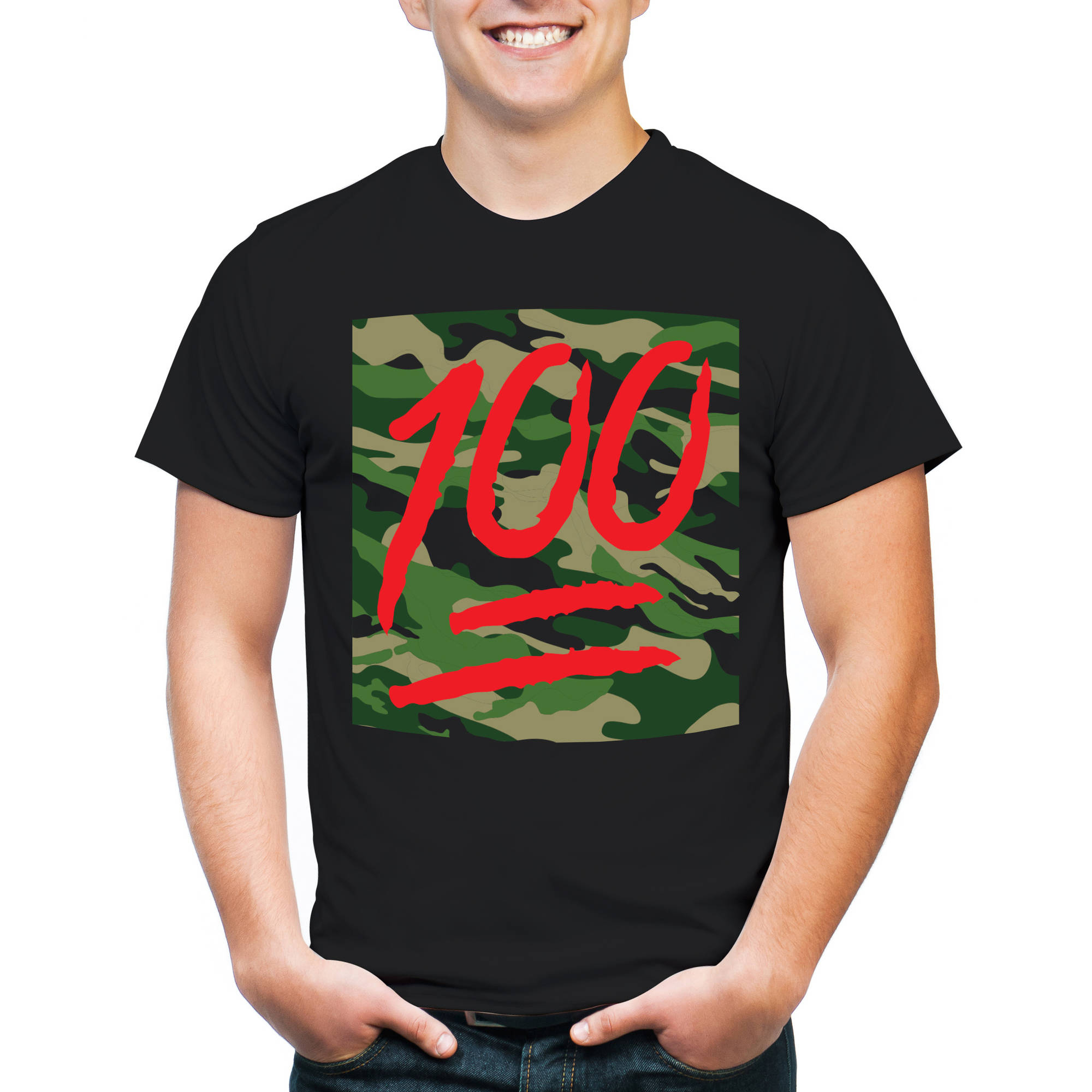 100 With Camo Background Big Men's Graphic Tee, 2XL