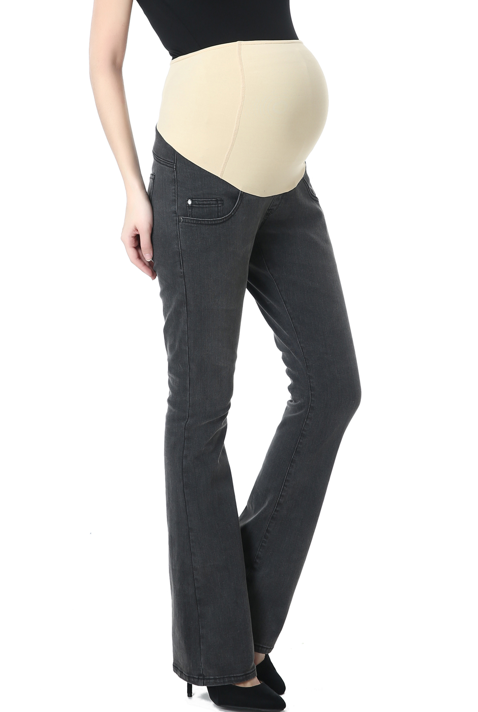 Maternity Women's Modern Boot Cut Denim Jeans - Gray 25