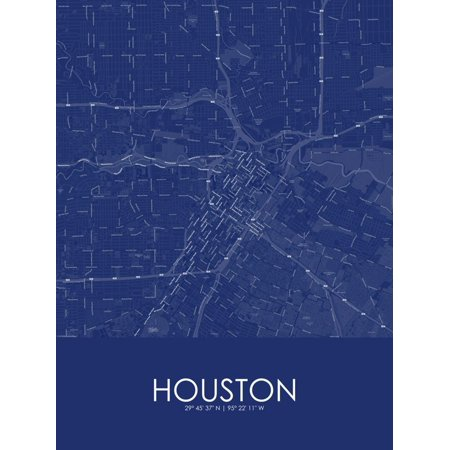Houston, United States of America Blue Map Poster Wall