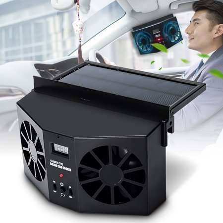 Car Vehicle Air Vent Auto Front/Rear Window Solar Sun Powered Exhaust Fan Ventilation Double Duct and Double Motor