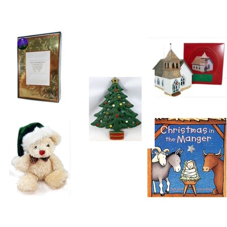 Christmas Fun Gift Bundle [5 Piece] -  Time Photo Cards W/ Envelopes 18 Count - The Sarah Plain And Tall Collection The Country Church Hallmark 1994 - Wrought Iron  Tree Trivet - Dan Dee  Teddy Bear