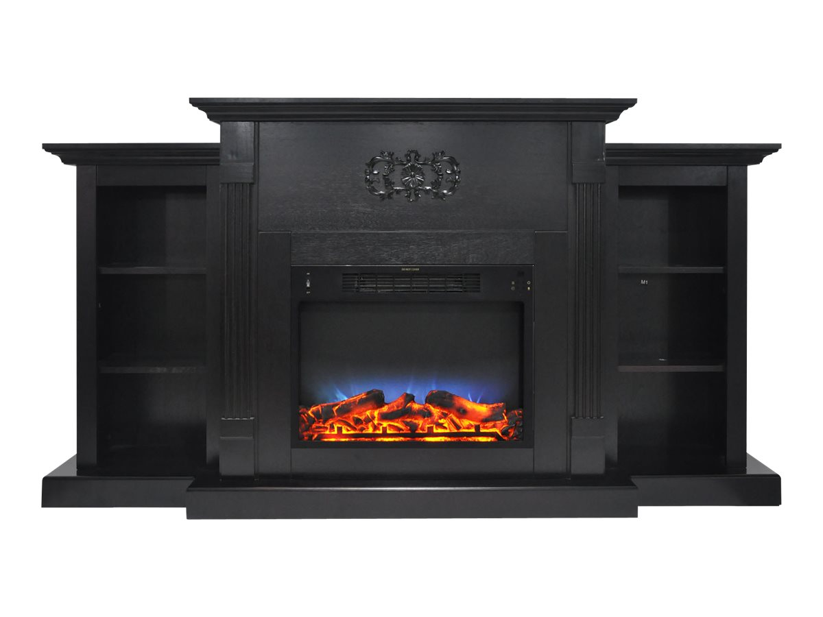 Cambridge Sanoma Electric Fireplace Heater With 72 Bookshelf Mantel And Multi Color Led Flame Display Com
