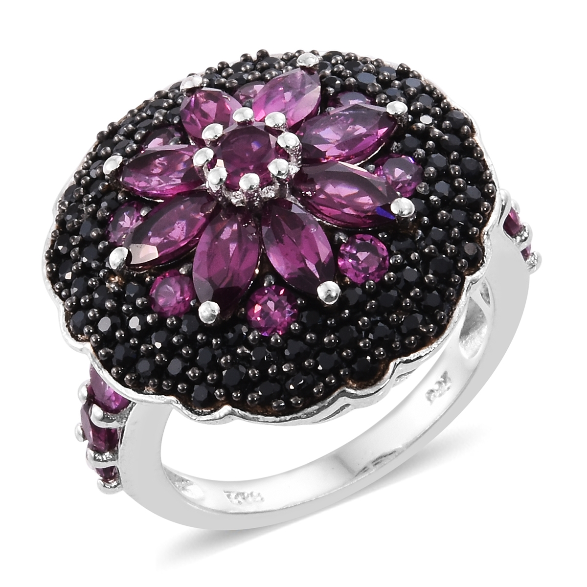 Purple Garnet, Black Spinel Black Rhodium & Platinum Plated Silver Ring 4 cttw by Shop LC