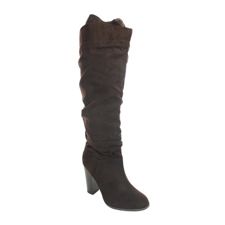 Qupid Womens Faux Suede Knee High Chunky Heel Side Slit Zipper Boot -