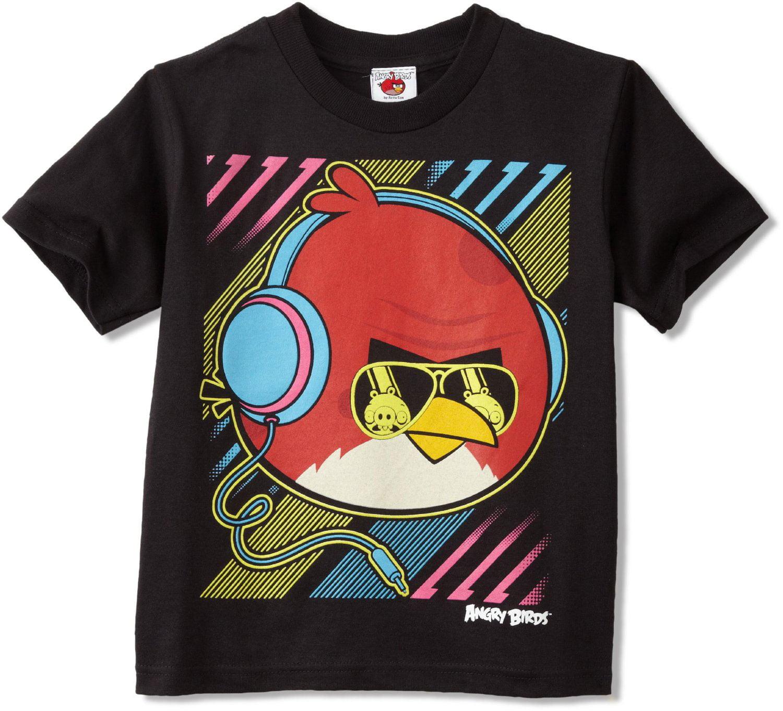 Boys Tee Shirt Short Sleeve ANGRY BIRDS Black City Buildings 10-12 14-16 18