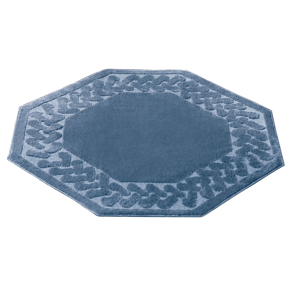 Herringbone Trim Solid Colored Skid-Resistant Decretive Accent Rugs, Octagon, Blue by Collections Etc