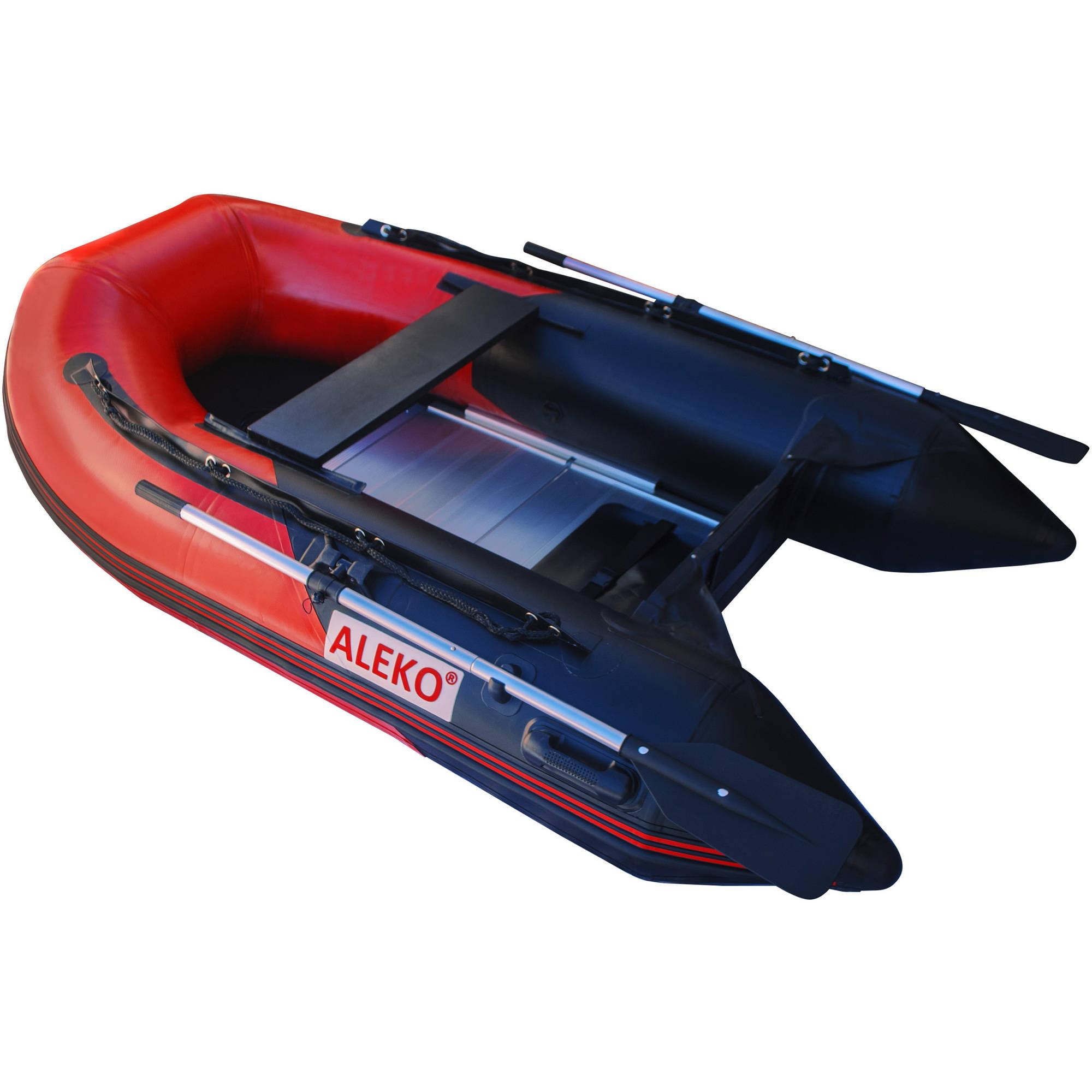 ALEKO Inflatable Boat - Aluminum Floor - 8.4 Feet - Red and Black