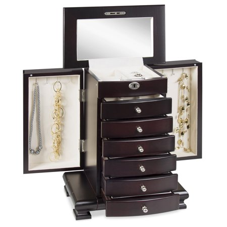 Best Choice Products Wooden Handcrafted Jewelry Box Storage Chest, Brown ()