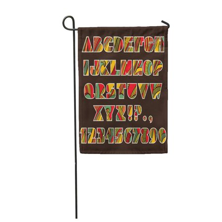 Festive Patterns - LADDKE Festive Alphabet of ABC Letters and Numbers Abstract Striped Bright Pattern Garden Flag Decorative Flag House Banner 28x40 inch