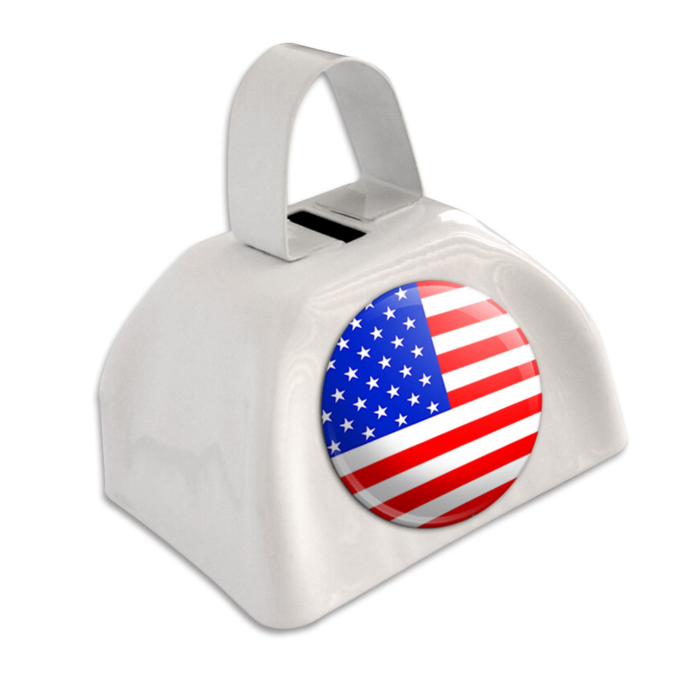 American USA Flag White Cowbell Cow Bell by Graphics and More