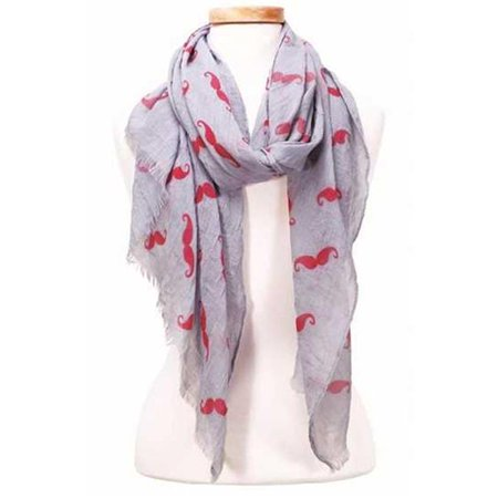 Design Imports MUST17-GRY Lightweight Mustache Scarf - - Moustache Design