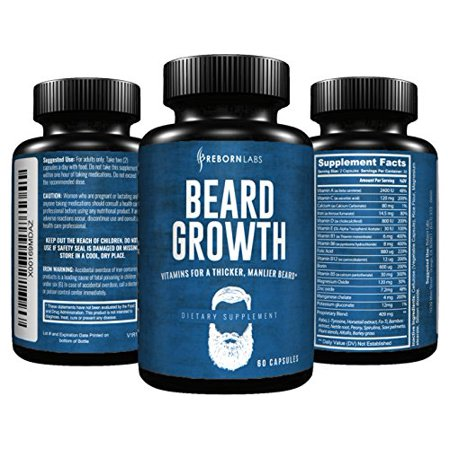 1 Bestselling Beard Growth Supplement With Vitamins For A Fuller  Longer    Thicker Beard   Promotes Faster Facial Hair Growth   Natural Complex With Biotin For Healthy   Strong Hair   60 Capsules