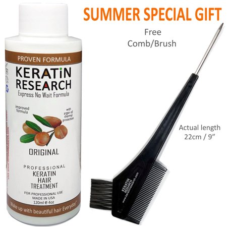 Keratin Research Brazilian Keratin Blowout Hair Treatment 120ml (4oz) Professional Results Straightens and Smooths Hair Instantly - Keratin Smoothing Treatment