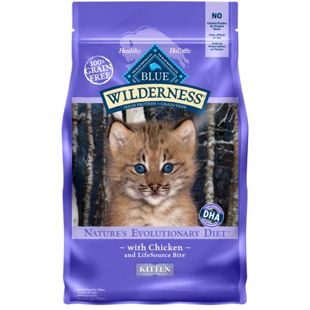Blue Buffalo Wilderness Chicken High Protein Grain Free Kitten Dry Cat Food, (Best Natural Kitten Food)