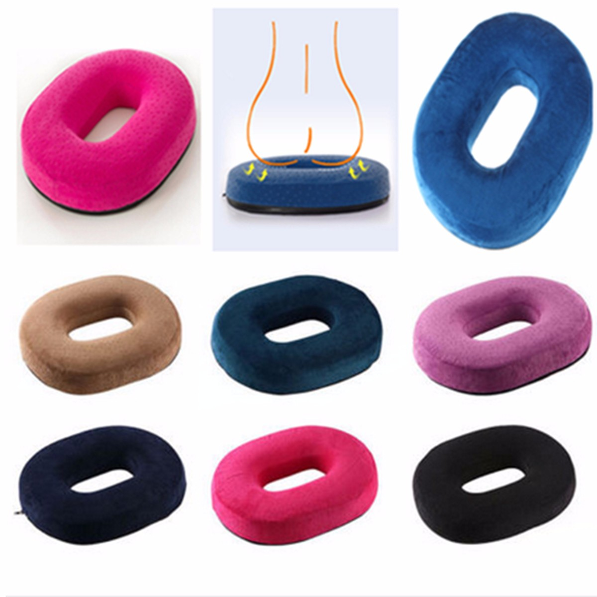 Memory Sponge Foam Pain Relief Ring Home Office Back Pain Tailbone Pregnancy Pressure Relief Cushion Car Chair Donut Seat Pillow