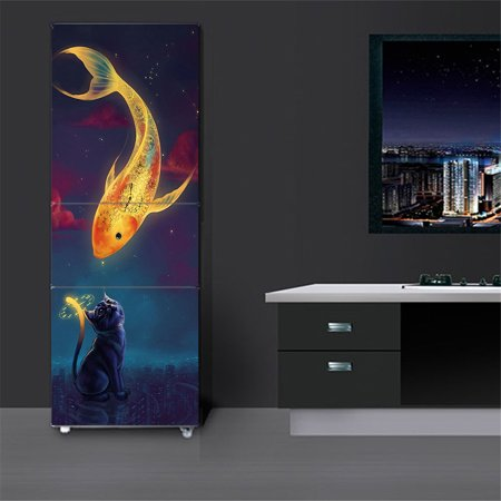 Fridge Sticker Cat Fish Customized Hallway Door Mural Removable Wardrobe Cover Home Wall Decal 23x59 - Customized Stickers