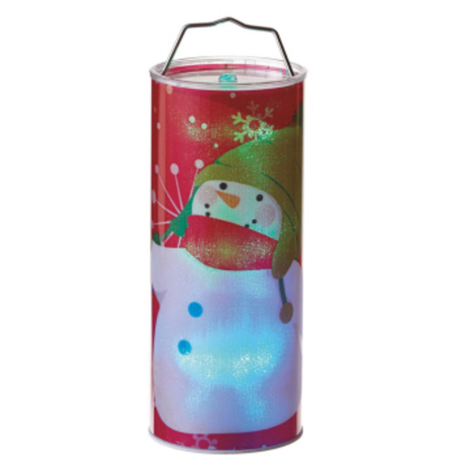 """12"""" Battery Operated Transparent Red Waving Snowman LED Color Changing Lighted Hanging Christmas Lantern"""