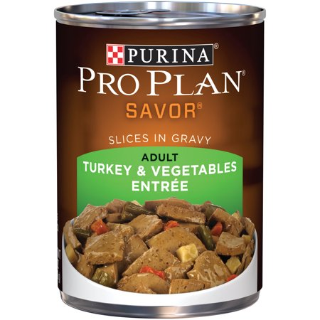 - Purina Pro Plan SAVOR Turkey & Vegetables Entree Slices in Gravy Adult Wet Dog Food, Twelve (12) 13 oz. Cans