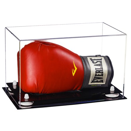 Deluxe Clear Acrylic Single or Double Boxing Glove Display Case with White Risers (A011-WR)