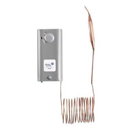 JOHNSON CONTROLS Line Voltage Mechanical Thermostat, Cooling, 120 to 277VAC, 1 Stage,