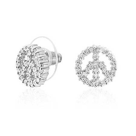 World Peace Out Sign Hippie Symbol Cubic Zirconia White CZ Stud Earrings For Women For Teen Silver Plated Brass - Teen Hippie