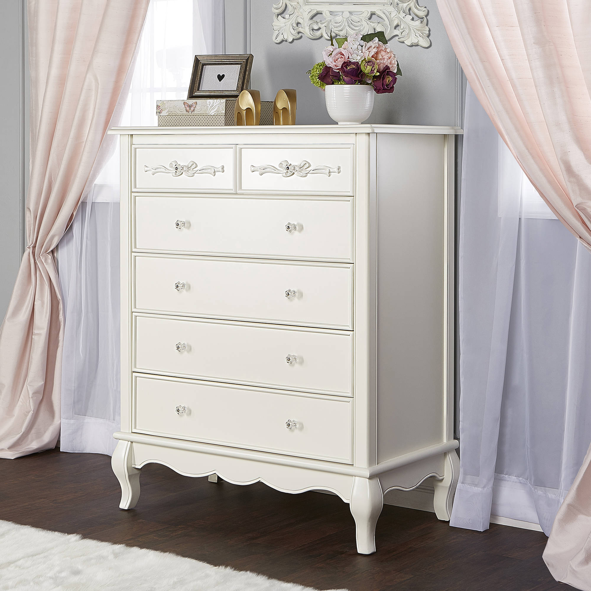 Evolur Aurora 5 Drawer Tall Chest, Ivory Lace
