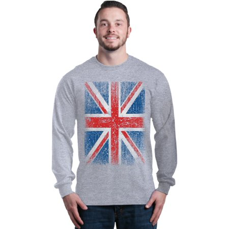 Shop4Ever Men's Union Jack British Flag UK Long Sleeve Shirt