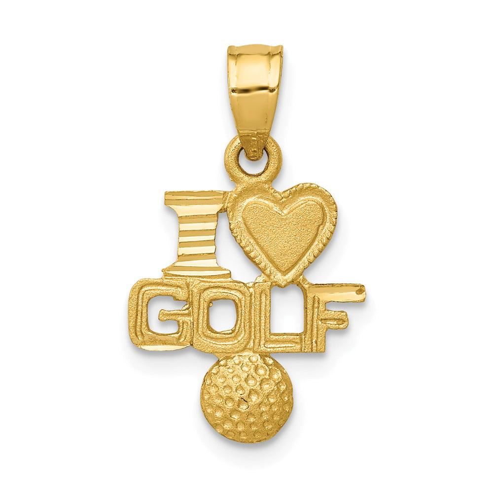 14k Yellow Gold Satin & Diamond Cut I Heart Golf Pendant