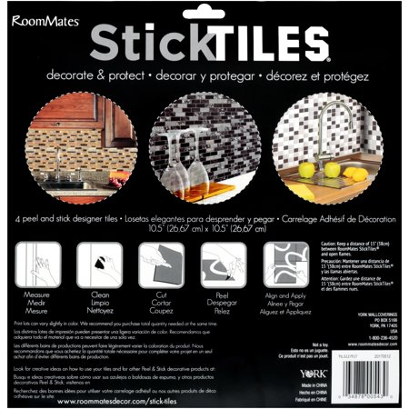 Best RoomMates Black and White Mosaic StickTILES, 4-Pack deal