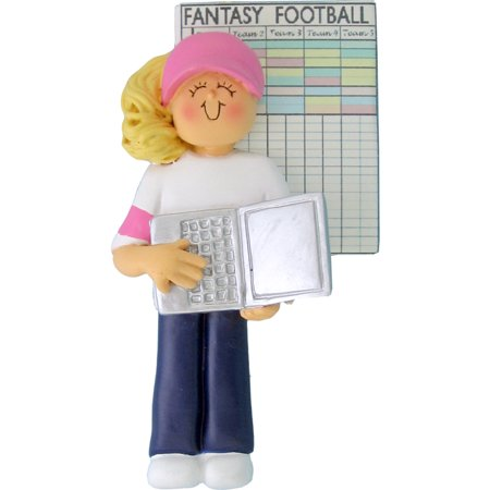 Fantasy Football Female Blonde Personalized  Christmas Ornament DO-IT-YOURSELF (Football Ornaments Personalized)