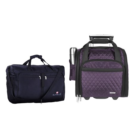 Travelon 3 Pc Set - wheeled Underseat Carry-On Suitcase with Back-Up Bag and Suvelle Foldable Travel Duffle