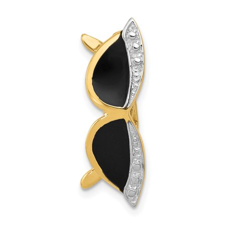 14k Yellow Gold Enameled Sunglasses Pendant Charm Necklace Slide Fine Jewelry For Women Gifts For Her - image 1 de 6