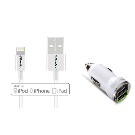 insten USB Car Charger with Dual Ports (2.1A+1A) High-Power Adapter Lightning Cable (Apple MFi Certified) for iPhone 7 6 6S Plus SE 5 5s 5c iPad Pro Air Mini iPod Touch 5th 6th Black
