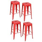 AmeriHome BS030RSET 4 Piece 30 Inch Metal Bar Stool Set - Red
