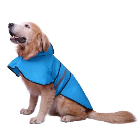 HDE Dog Raincoat Hooded Slicker Poncho for Small to X-Large Dogs and Puppies (Lake Blue, - X-large Dog Puppy Apparel