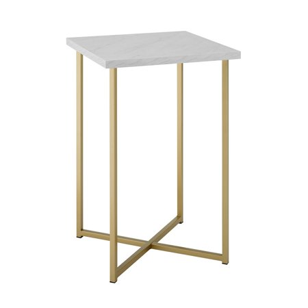 Rochester Leg Table - 16 Square Side Table with White Faux Marble Top and Gold Legs