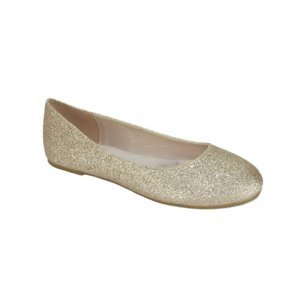 Thesis-H Formal Shoes Brand City Classified Women Ballet Flats Basic Slip On Round Toe Champagne Gold Glitter 5.5