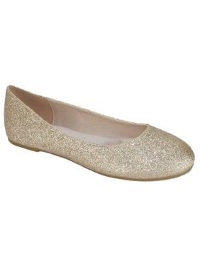 Thesis-H Formal Shoes Brand City Classified Women Ballet Flats Basic Slip On Round Toe Champagne Gold Glitter 10