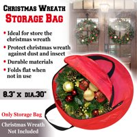Strong Camel Heavy Duty Christmas Wreath Storage Bag For 24/30-Inch Wreaths (Red, 8.3'' x dia. 30'')-Red color