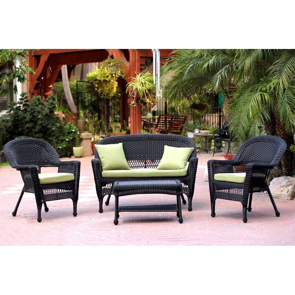Jeco 4pc Black Wicker Conversation Set - Green Cushions