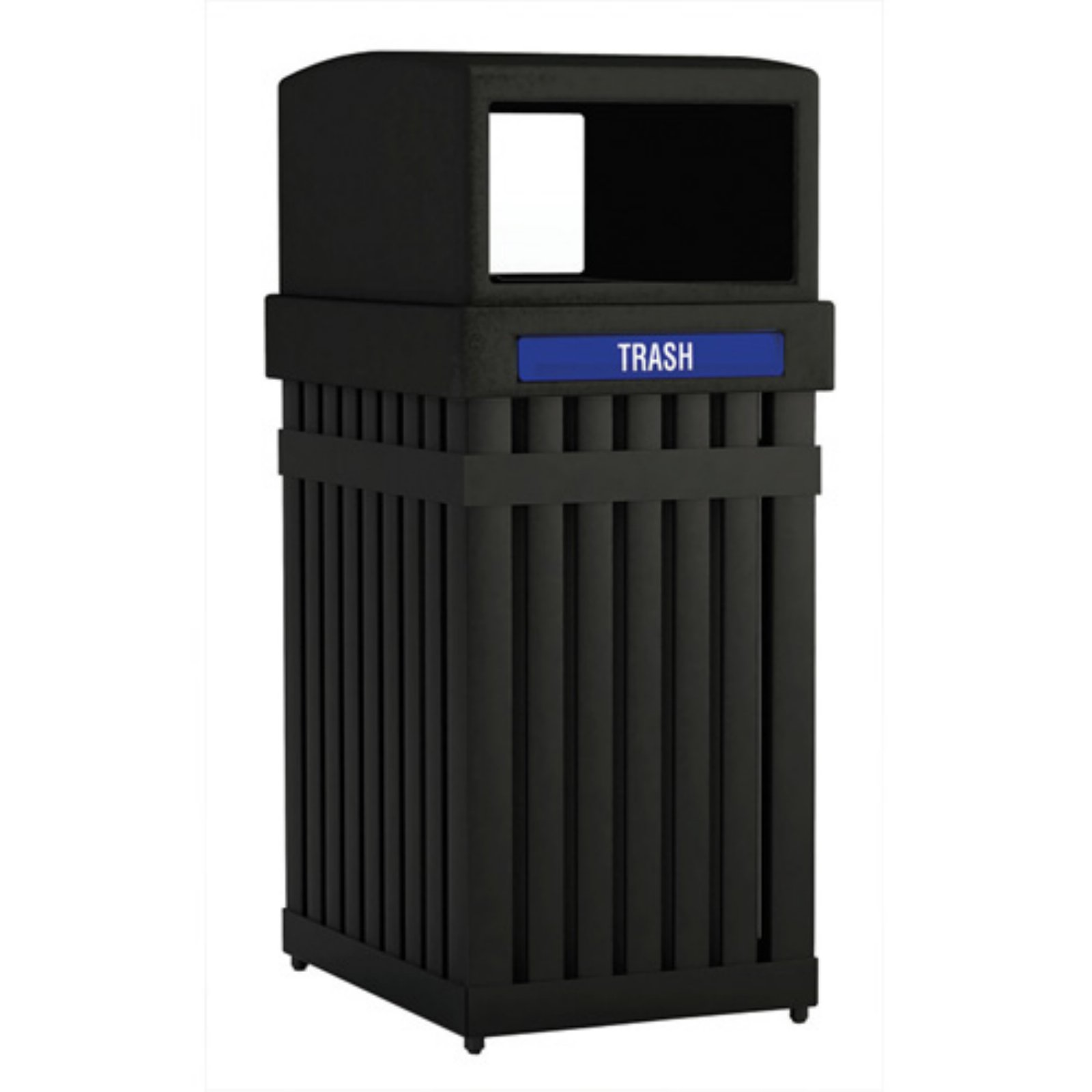 Commercial Zone Archtec Single Parkview Steel-Slotted Waste Container - Rectangular Opening