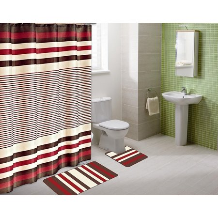 15-piece Hotel Bathroom Sets - 2 Non-Slip Bath Mats Rugs Fabric Shower Curtain 12-Hooks BURGUNDY WINRY