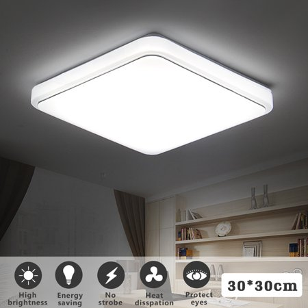 Square Led Ceiling Light Flush Mount 24w 1000lm Down Fixture Lamp For Home Kitchen Dining Living Room Bedroom 30x30cm